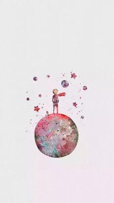 纯色背景 小王子 插画 星球