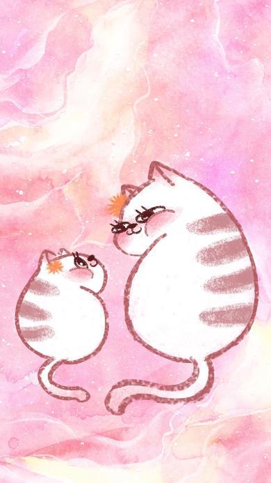 卡通 猫咪 粉色系 可爱