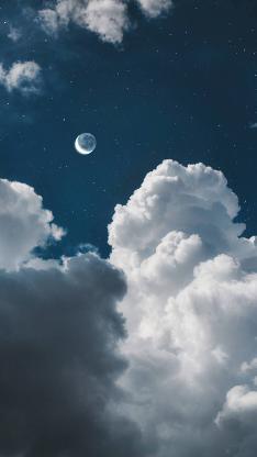 月亮 夜晚 天空 云朵