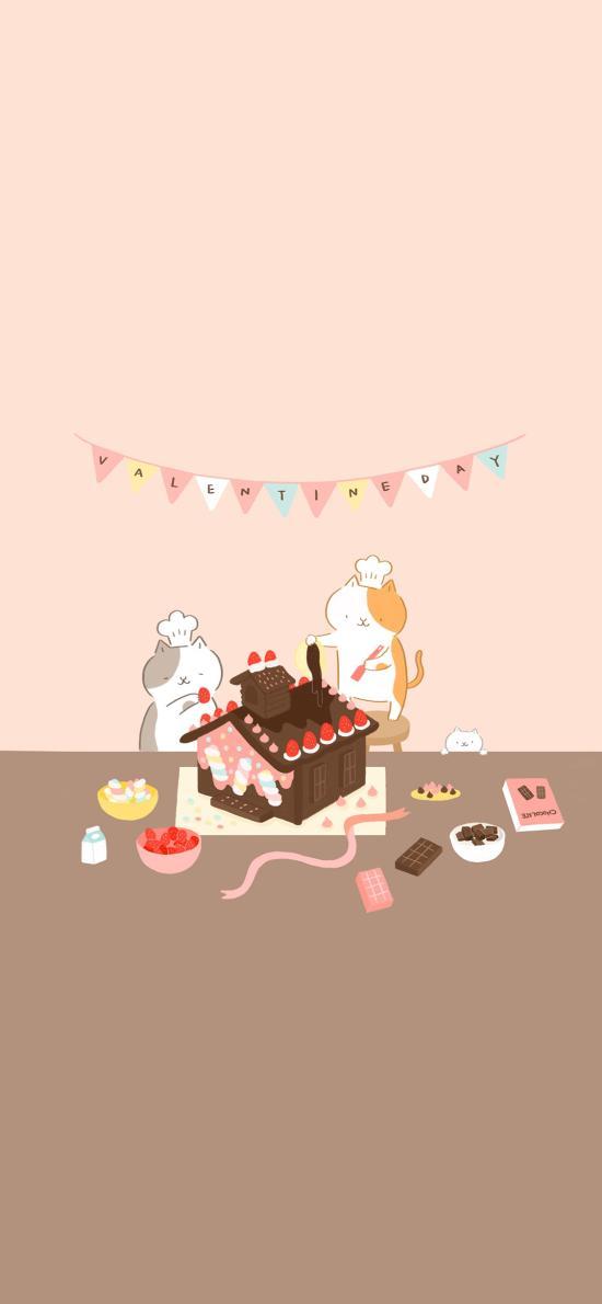 Valentine's Day 情人节 手绘 猫咪 蛋糕