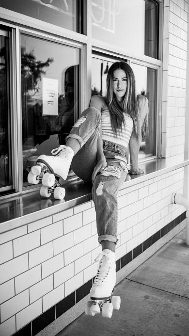 欧美美女 轮滑 写真 黑白