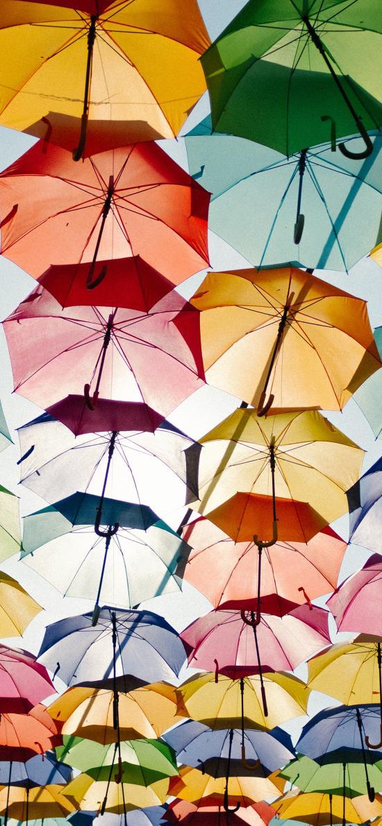 天空 雨伞 悬空 色彩