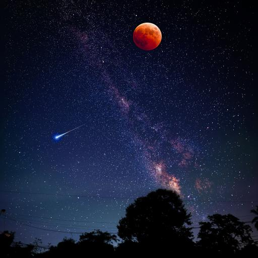 星空 夜景 流星 月亮