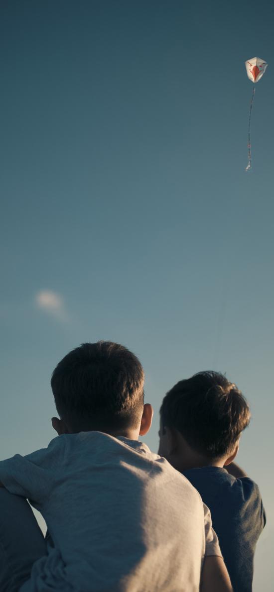 背影 小男孩 儿童 仰望 风筝