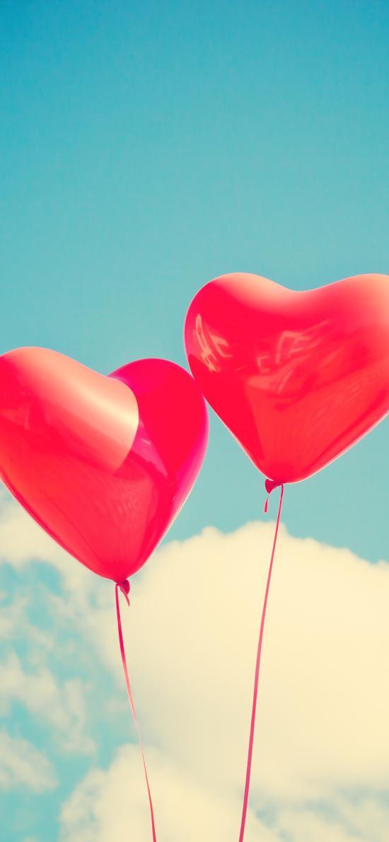 爱心 气球 心形 天空 飞舞