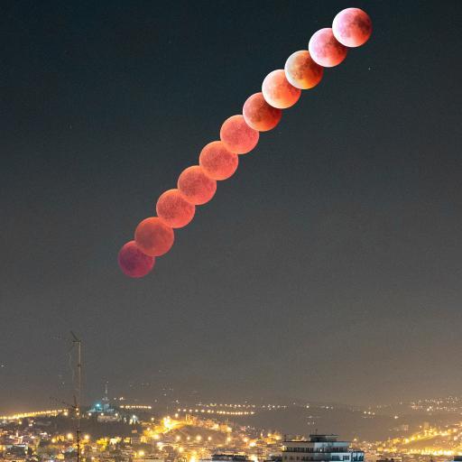 天像 月球 夜景 城市 灯光