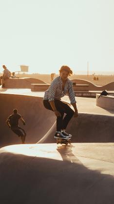 滑板 休闲 阳光 夕阳 运动