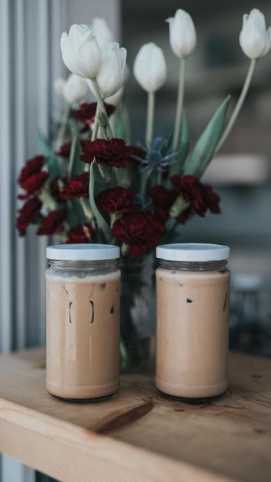 玻璃瓶 奶茶 冰饮 鲜花 花瓶