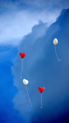 气球 蓝色 太空 爱心 心形