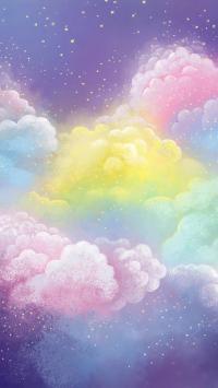 手绘插图 彩云 色彩 梦幻