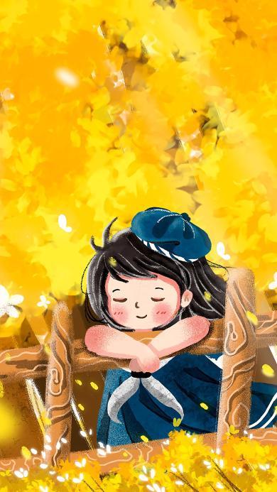 女孩 插画 黄色 枫叶 秋天 季节