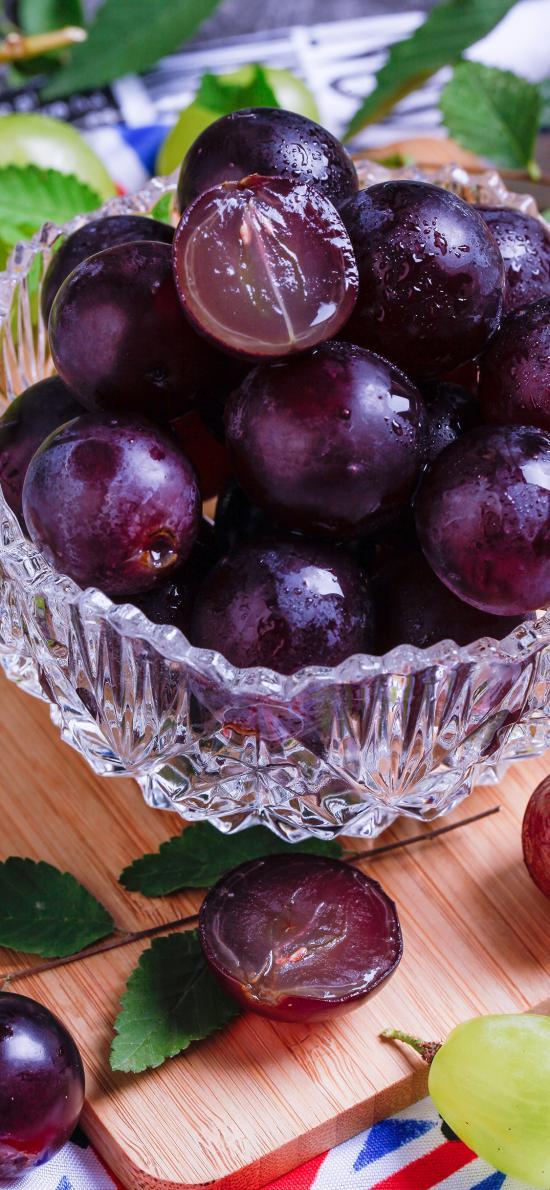 水果 葡萄 玻璃碗 精致