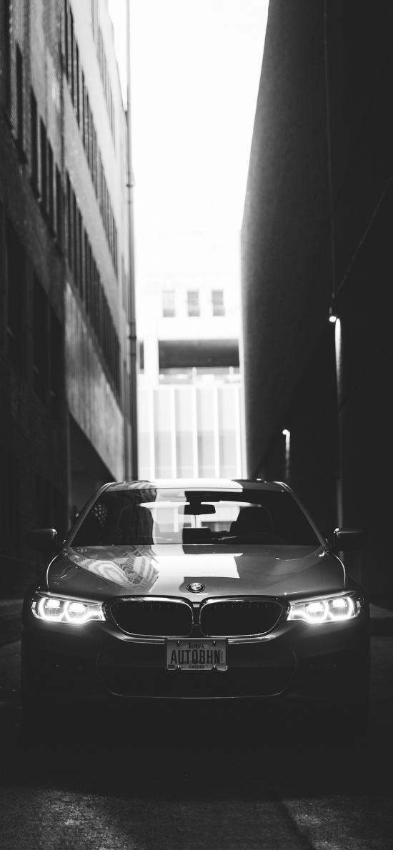 宝马 黑色 汽车 轿车 街道