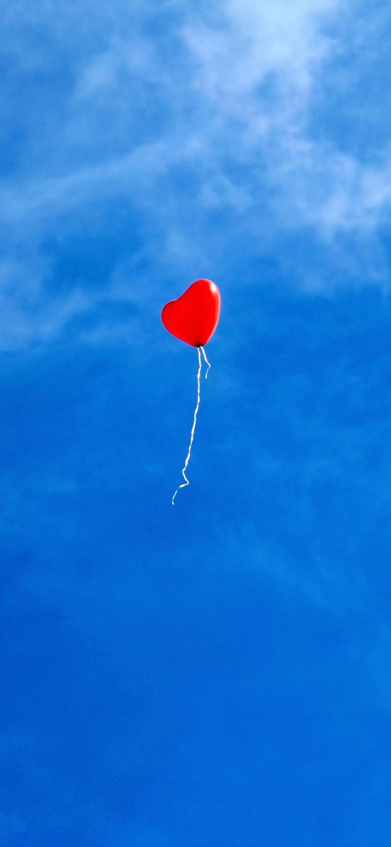 爱心气球 飞 蓝天 天空
