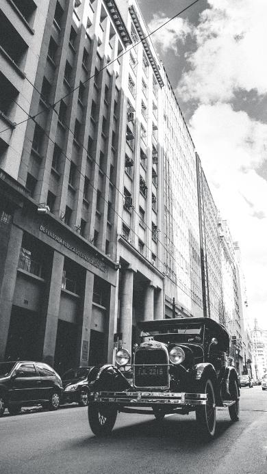 老式 复古 黑白 汽车 轿车