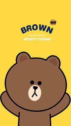 line friends 布朗熊 卡通 可爱 黄色