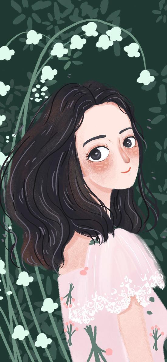 女孩 情侣 爱情 绿色 插画