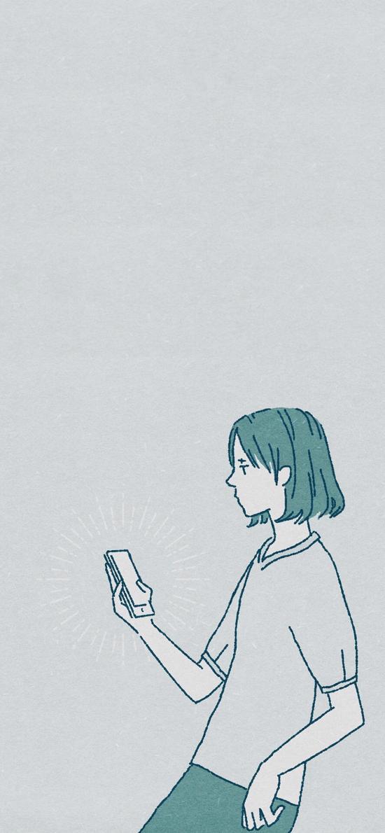 hacne插畫 女孩 手機 ???