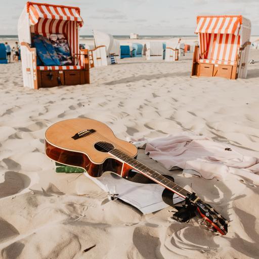 沙滩 乐器 吉他 休闲