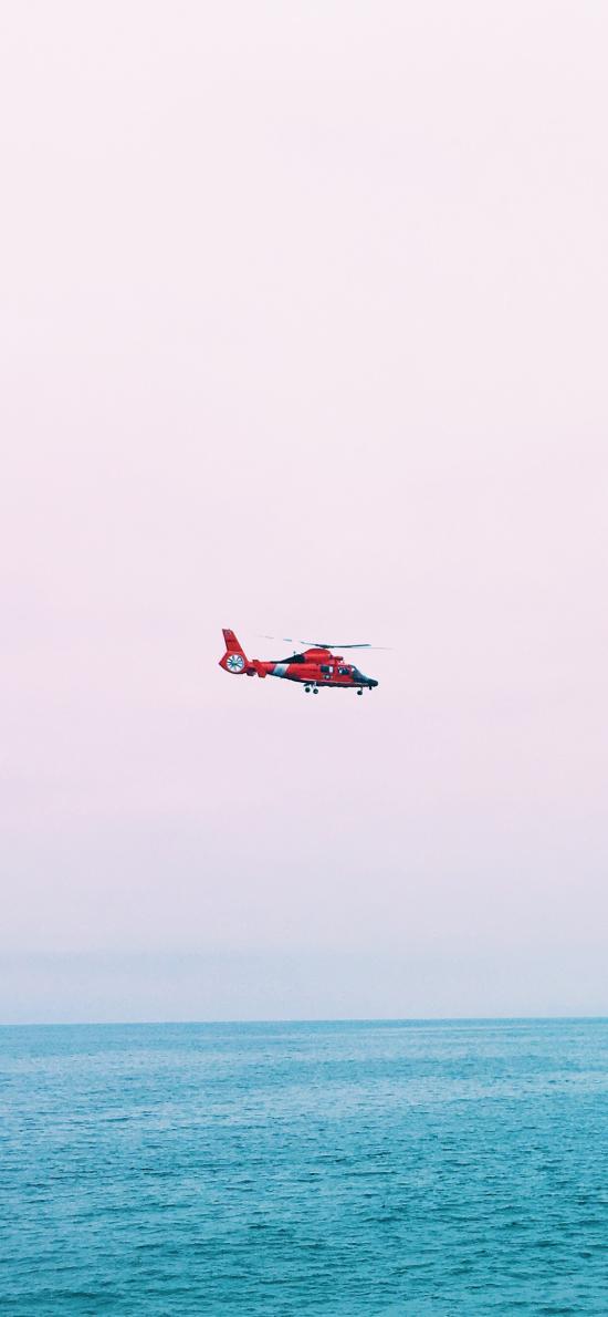 直升机 飞机 大海 海上