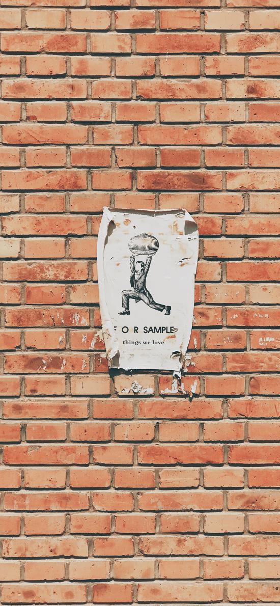 砖墙 红砖 告示 贴士