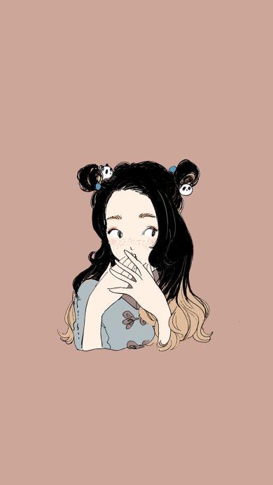 纯色背景 卡通 女孩 丸子头