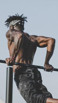 健身 运动 单杠 肌肉 黑人 纹身 引体向上