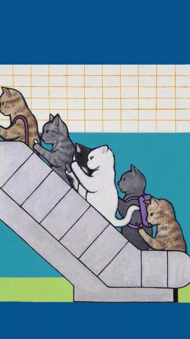 LEE TOLL插画 作品 猫咪 扶梯