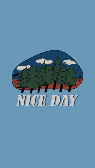 纯色背景 树木 蓝天 NICE DAY