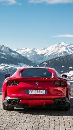 法拉利 超级跑车 红色 炫酷 雪山