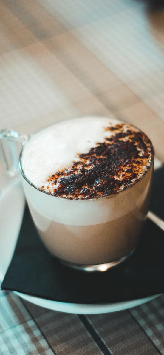 咖啡 玻璃杯 焦糖 饮料