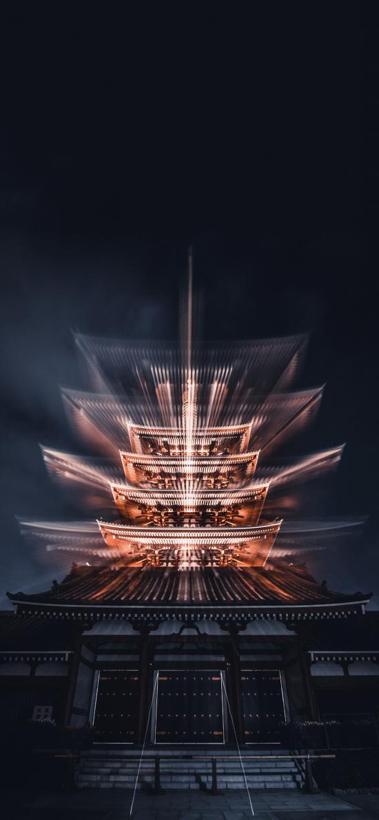 日本 景点 浅草寺 灯光
