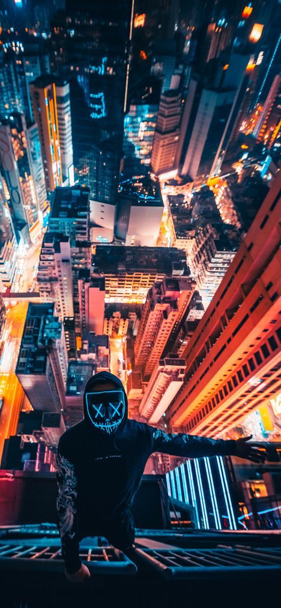 城市 夜景 建筑 男孩 面具
