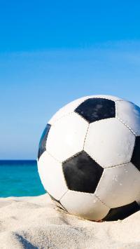 足球 运动 沙滩 海浪