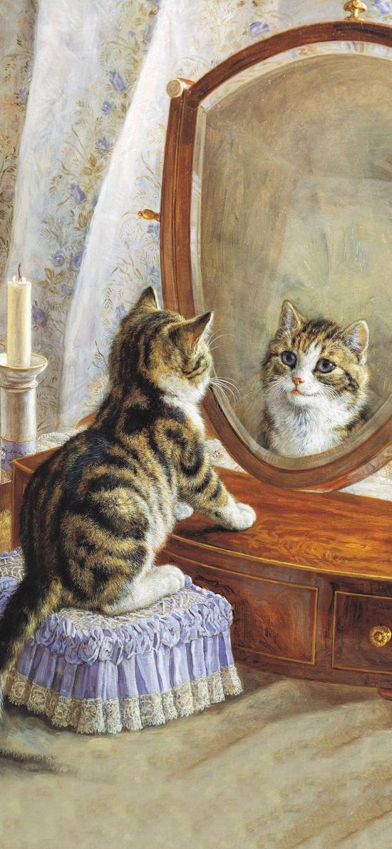 油畫作品 貓咪 照鏡子 藝術 色彩