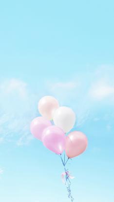 气球 小清新 蓝天 梦幻