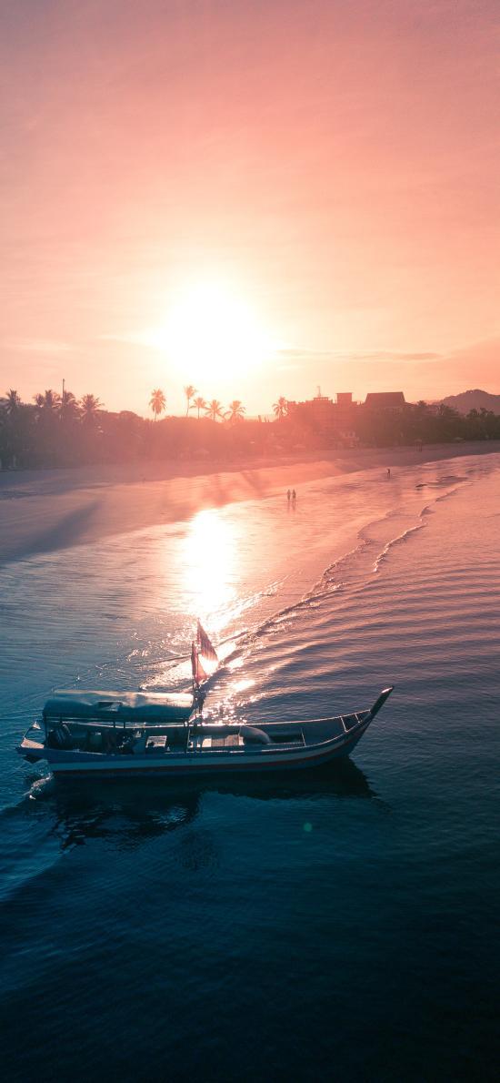 景色 夕陽 海岸 海浪