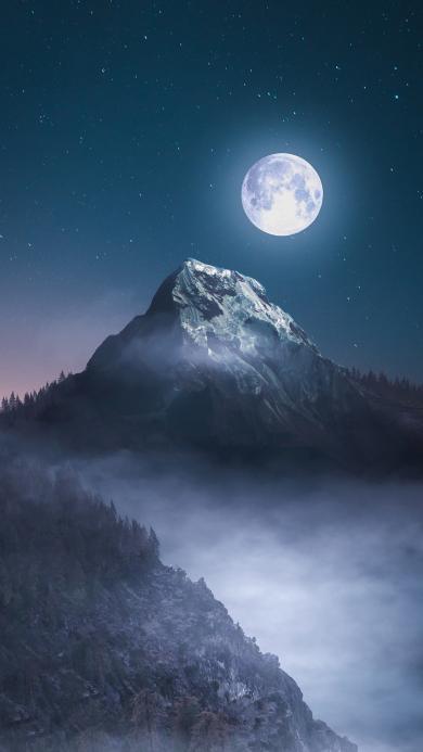 月光 月圆 夜晚 星空 山峰