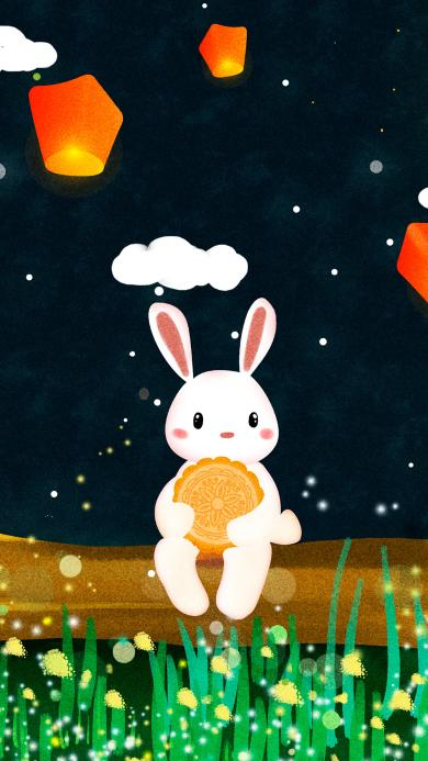 兔子 中秋节 插画 月饼 孔明灯