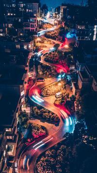 夜景 街道 灯光 S型 弯道