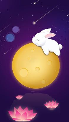 兔子 月球 月亮 荷花 中秋 插画