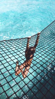 泳池 绳索 美女 比基尼 写真