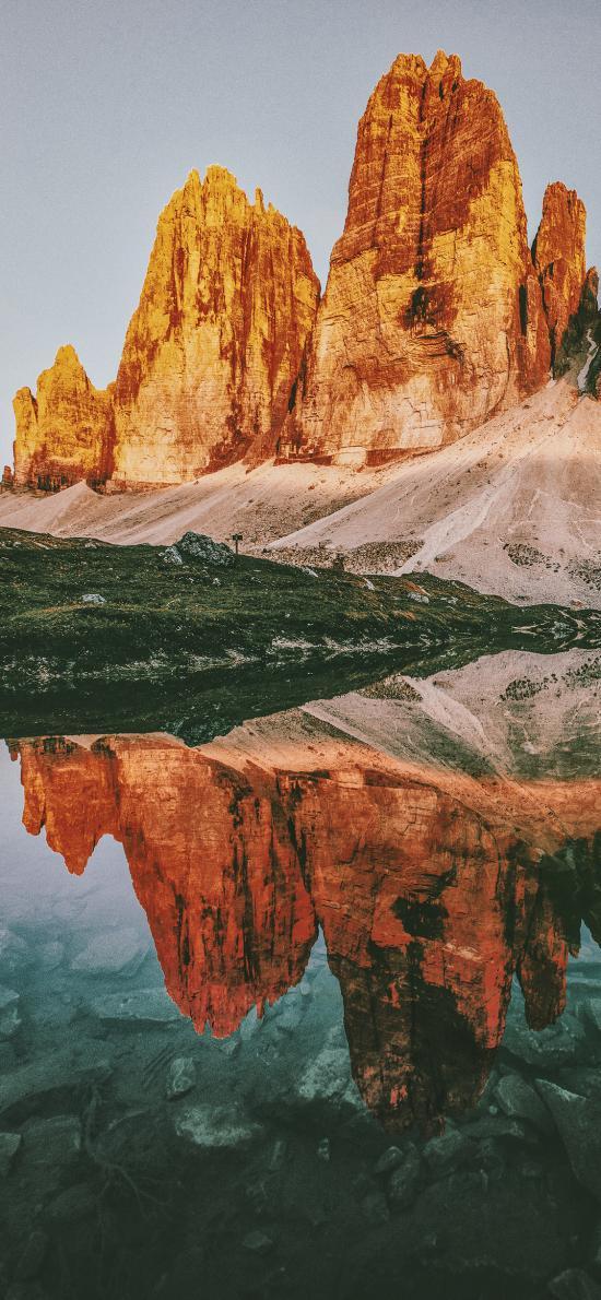 郊外 自然 山峰 湖泊