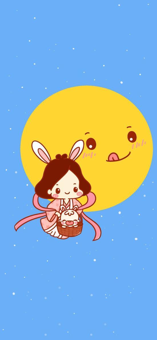中秋 卡通 月兔 奔月