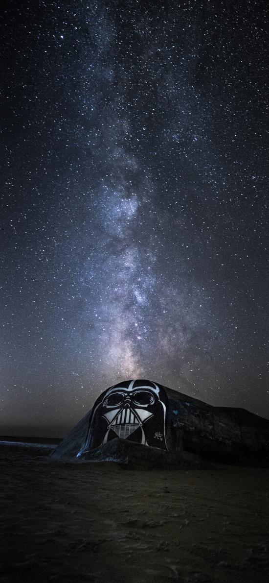 夜晚 星空 涂鸦 面具