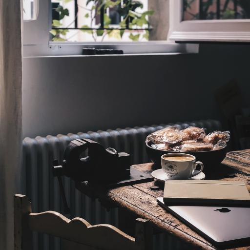 静物 平板 咖啡 饼干