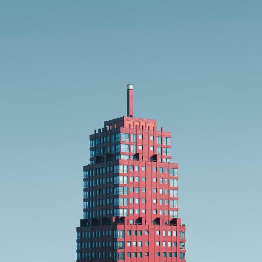 城市 建筑 高楼 红色 方正