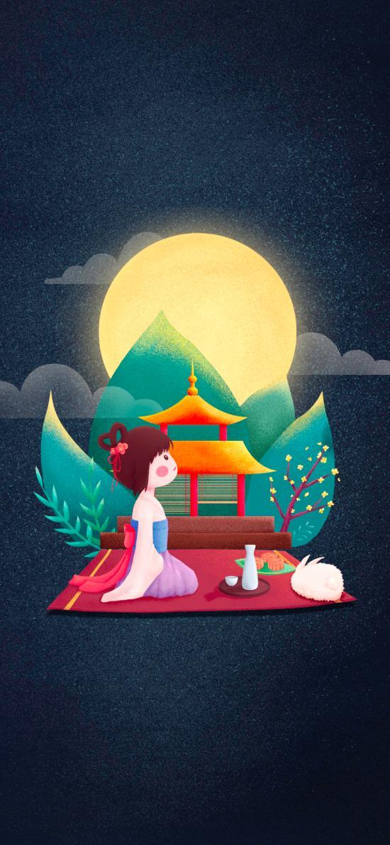 嫦娥 兔子 中秋节 月亮 插画