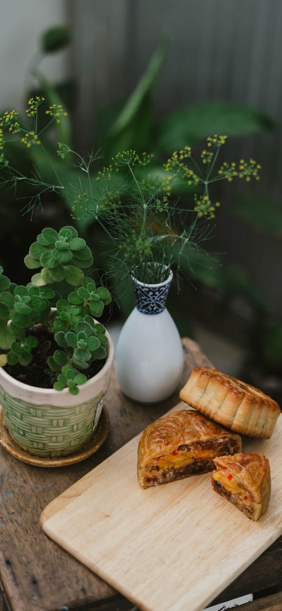 月饼 案板 传统 绿植