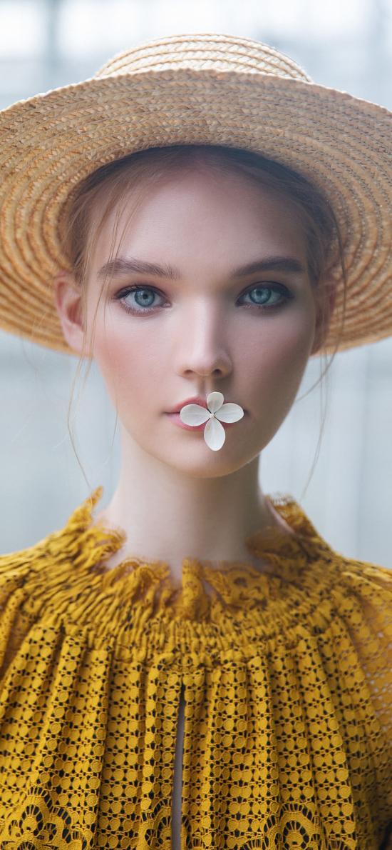 女孩 歐美 草帽 小花